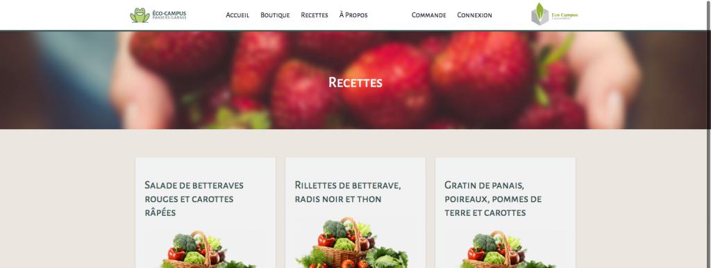 La page recette du site marchand de Eco-Campus