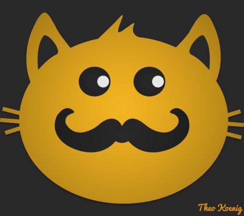 Illustration d'un chat du style hipster