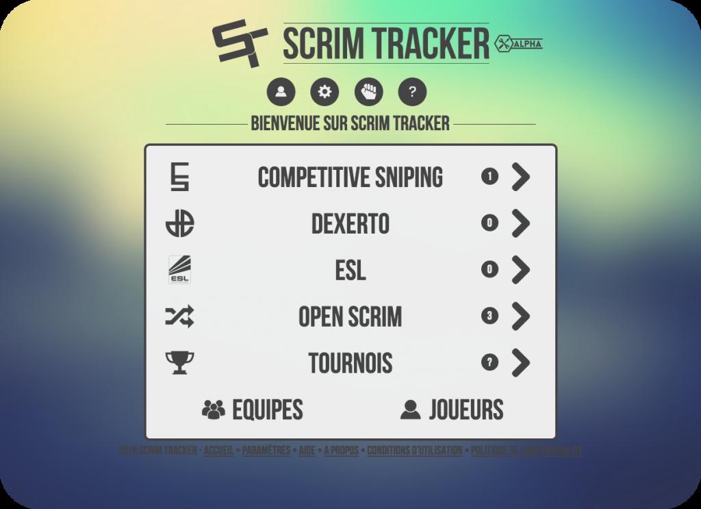 Page d'accueil actuelle de Scrim Tracker
