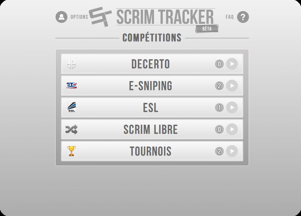 Maquette de la page d'accueil de Scrim Tracker