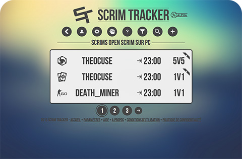 Page de scrims du site Scrim Tracker