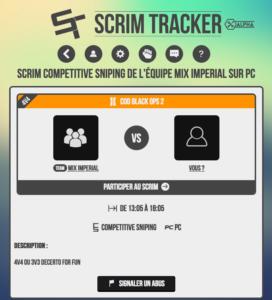 Page de scrim sur Scrim Tracker