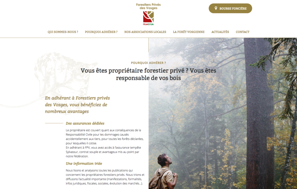 Page de contenu du site web les Forestiers privés des Vosges