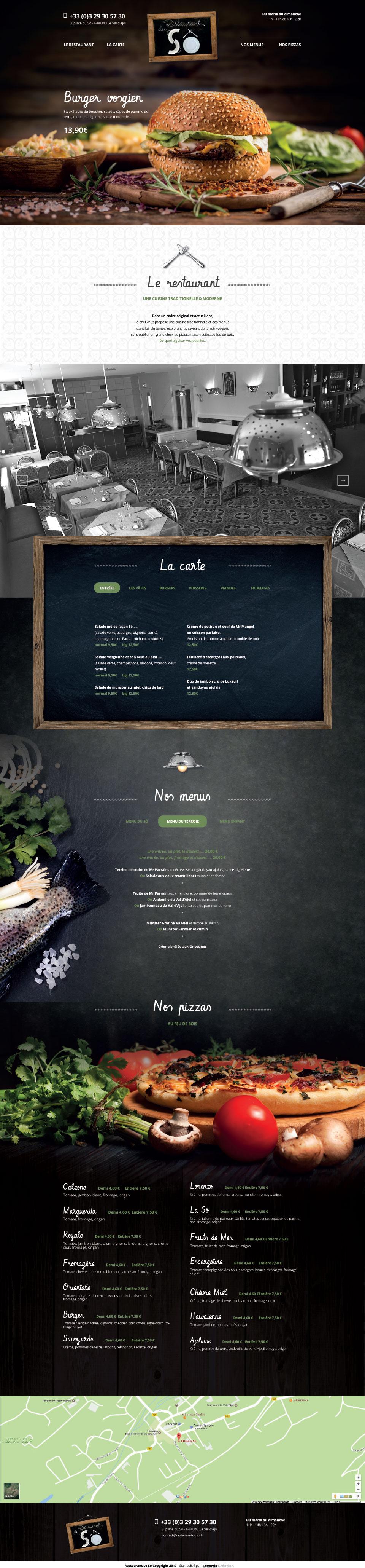 Maquette du site Internet le restaurant du Sô