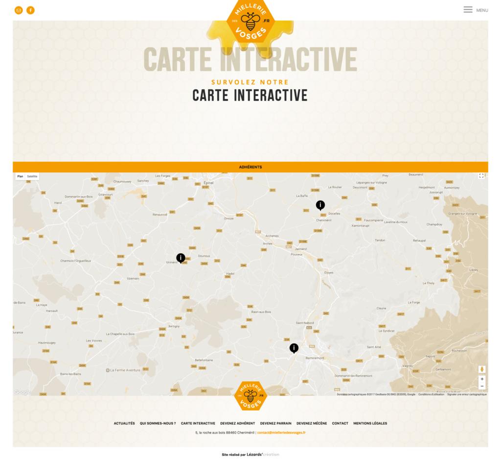 Carte interactive du site Miellerie des Vosges