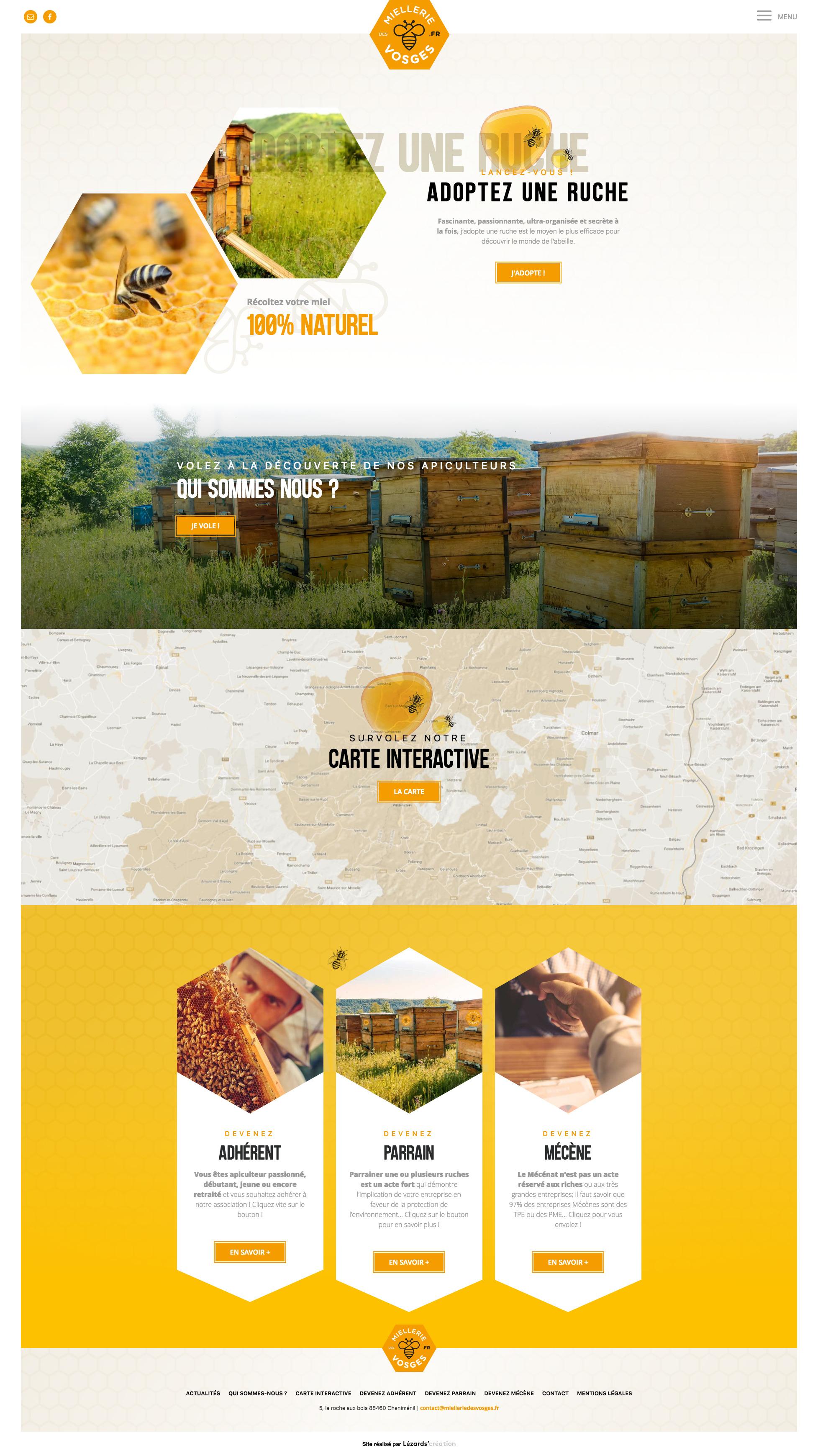 Page d'accueil du site la Miellerie des Vosges