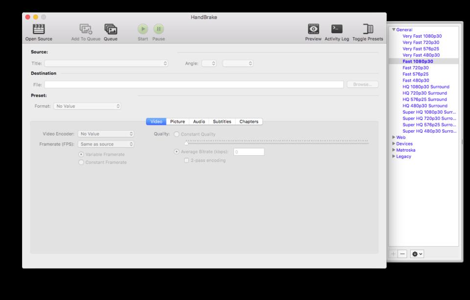 Interface du logiciel Handbrake