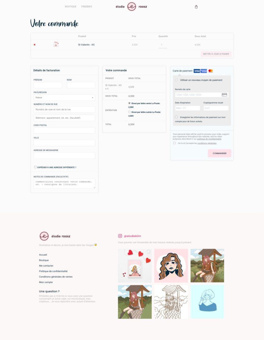 Page commande du site de Élodie Roosz