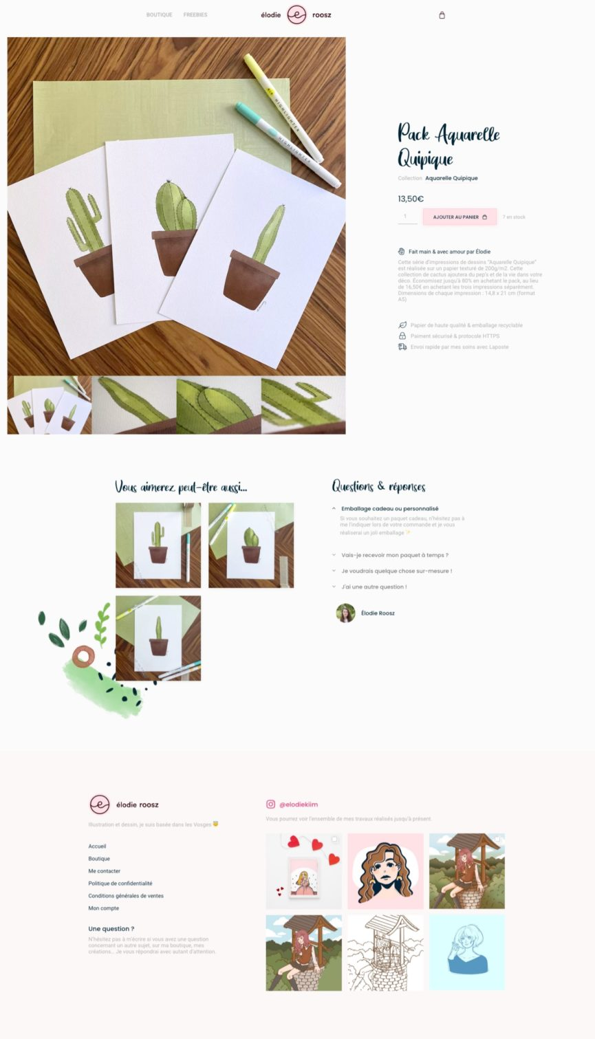 Page produit du site de Élodie Roosz