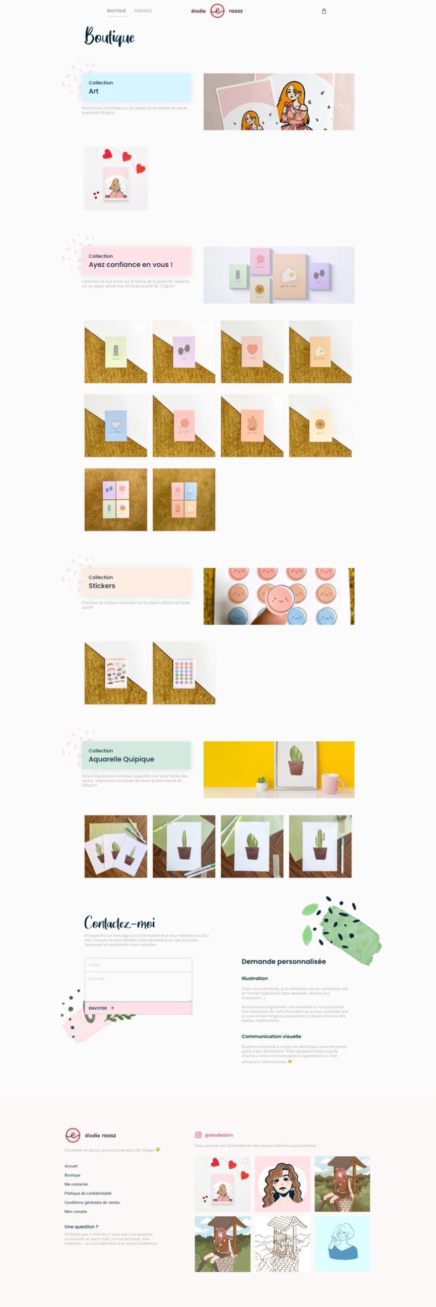 Page boutique du site de Élodie Roosz